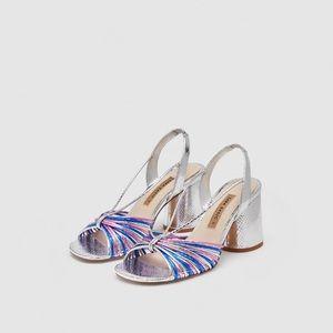 ZARA silver strappy high-heel sandals